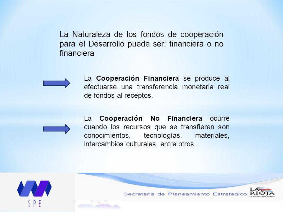 La Naturaleza de los fondos de cooperación para el Desarrollo puede ser: financiera o no financiera La Cooperación Financiera se produce al efectuarse una transferencia monetaria real de fondos al receptos.