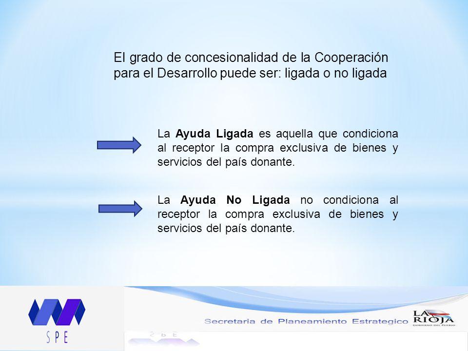 El grado de concesionalidad de la Cooperación para el Desarrollo puede ser: ligada o no ligada La Ayuda Ligada es aquella que condiciona al receptor la compra exclusiva de bienes y servicios del país donante.