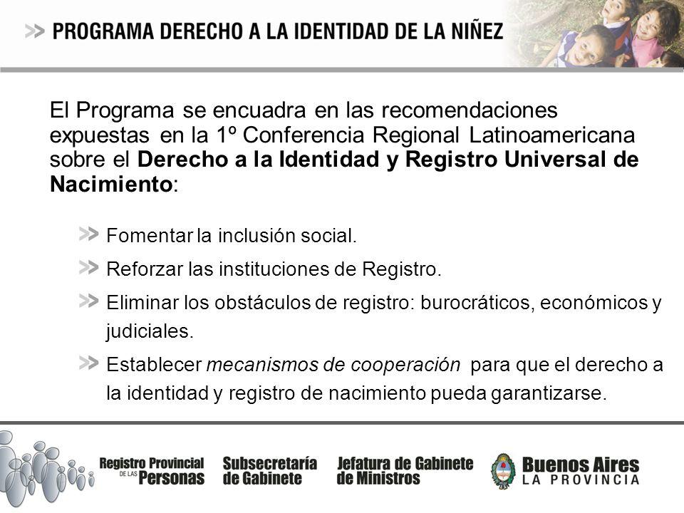 El Programa se encuadra en las recomendaciones expuestas en la 1º Conferencia Regional Latinoamericana sobre el Derecho a la Identidad y Registro Universal de Nacimiento: Fomentar la inclusión social.