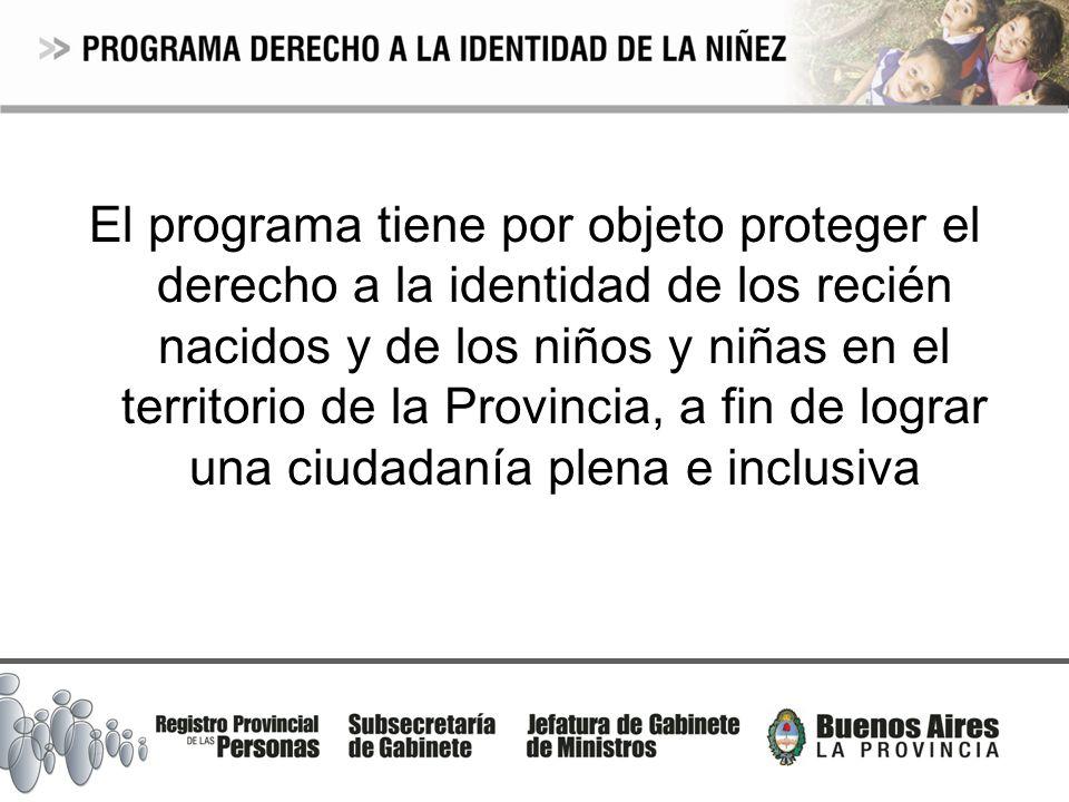 El programa tiene por objeto proteger el derecho a la identidad de los recién nacidos y de los niños y niñas en el territorio de la Provincia, a fin de lograr una ciudadanía plena e inclusiva