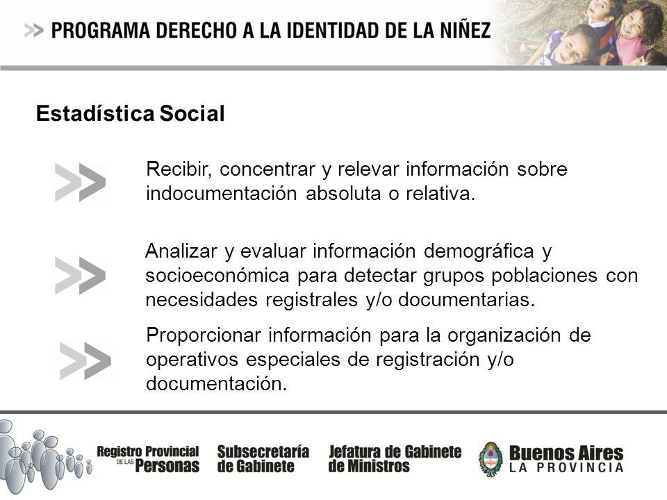 Estadística Social Recibir, concentrar y relevar información sobre indocumentación absoluta o relativa. Analizar y evaluar información demográfica y s