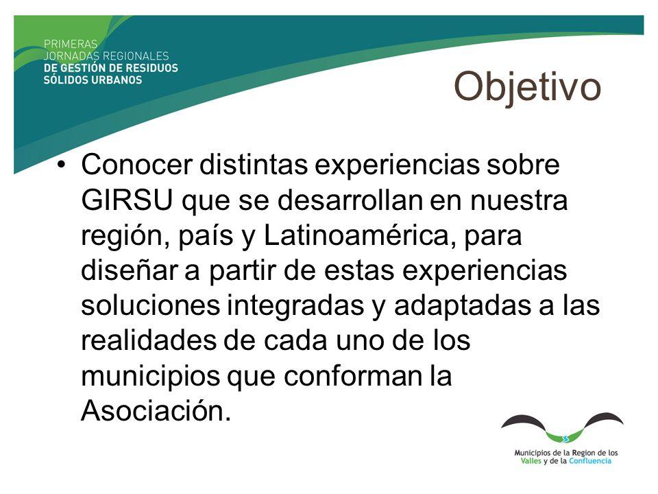 Objetivo Conocer distintas experiencias sobre GIRSU que se desarrollan en nuestra región, país y Latinoamérica, para diseñar a partir de estas experiencias soluciones integradas y adaptadas a las realidades de cada uno de los municipios que conforman la Asociación.
