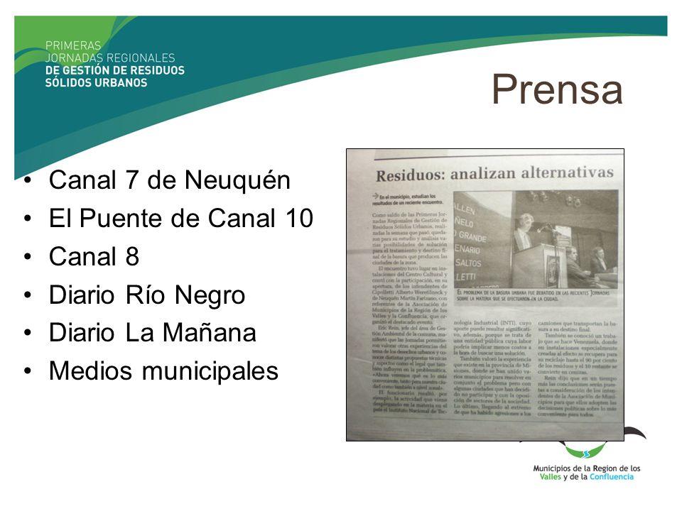 Prensa Canal 7 de Neuquén El Puente de Canal 10 Canal 8 Diario Río Negro Diario La Mañana Medios municipales