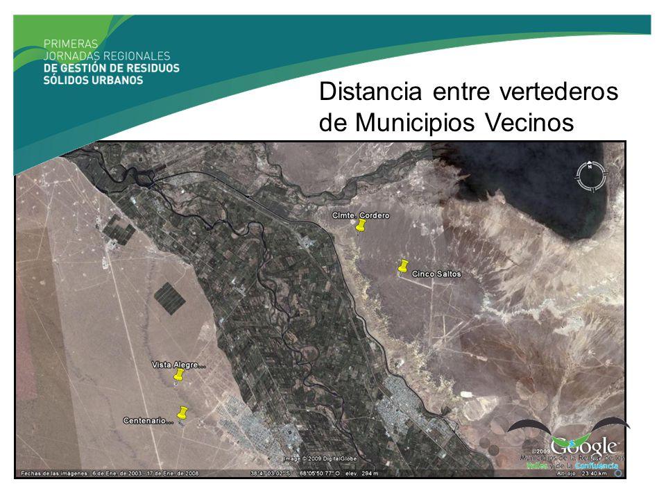 Distancia entre vertederos de Municipios Vecinos