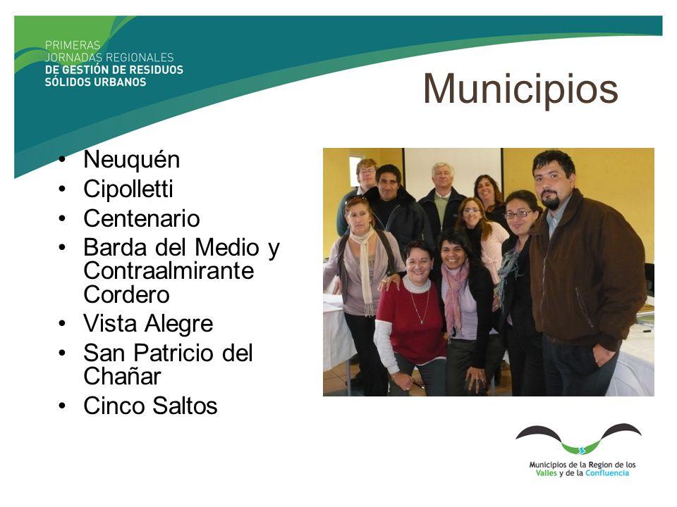 Municipios Neuquén Cipolletti Centenario Barda del Medio y Contraalmirante Cordero Vista Alegre San Patricio del Chañar Cinco Saltos