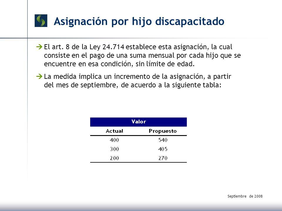 Septiembre de 2008 Asignación por hijo discapacitado El art.