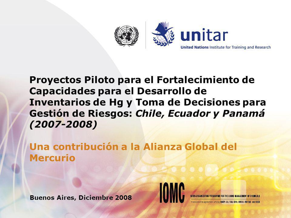 Proyectos Piloto para el Fortalecimiento de Capacidades para el Desarrollo de Inventarios de Hg y Toma de Decisiones para Gestión de Riesgos: Chile, Ecuador y Panamá (2007-2008) Una contribución a la Alianza Global del Mercurio Buenos Aires, Diciembre 2008