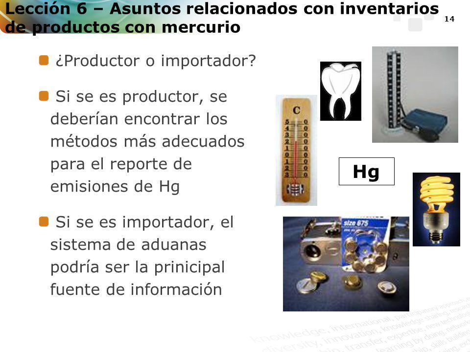 14 Lección 6 – Asuntos relacionados con inventarios de productos con mercurio ¿Productor o importador.