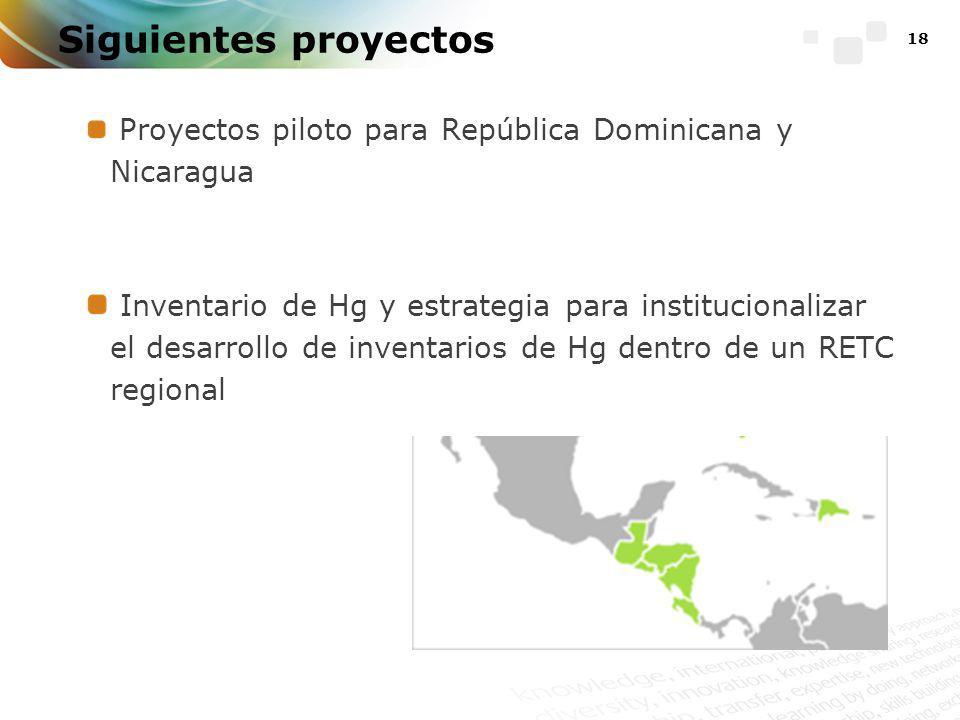 18 Siguientes proyectos Proyectos piloto para República Dominicana y Nicaragua Inventario de Hg y estrategia para institucionalizar el desarrollo de inventarios de Hg dentro de un RETC regional