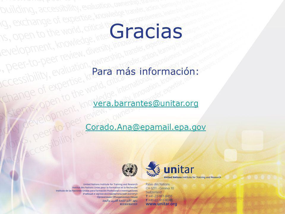 Gracias Para más información: vera.barrantes@unitar.org Corado.Ana@epamail.epa.gov