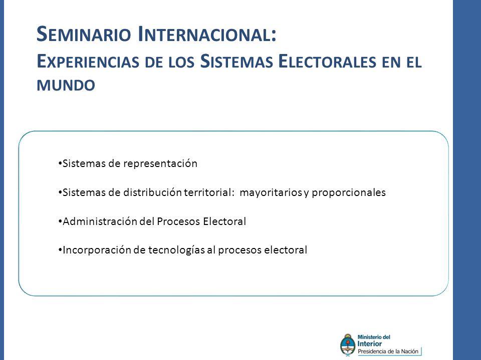 S EMINARIO I NTERNACIONAL : E XPERIENCIAS DE LOS S ISTEMAS E LECTORALES EN EL MUNDO Sistemas de representación Sistemas de distribución territorial: mayoritarios y proporcionales Administración del Procesos Electoral Incorporación de tecnologías al procesos electoral