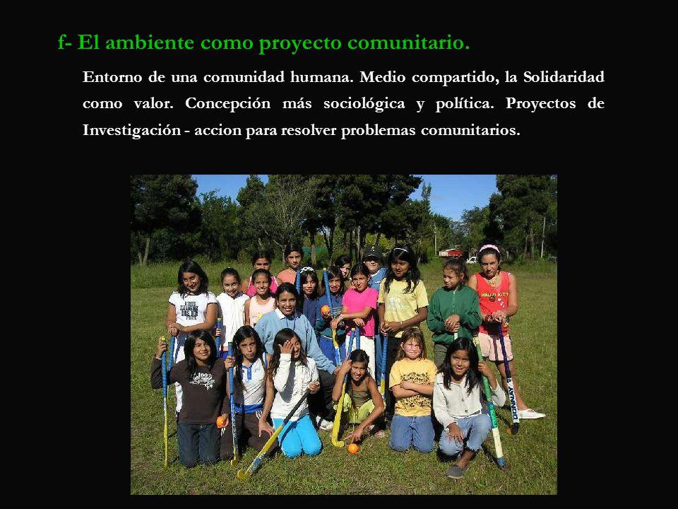 f- El ambiente como proyecto comunitario. Entorno de una comunidad humana. Medio compartido, la Solidaridad como valor. Concepción más sociológica y p
