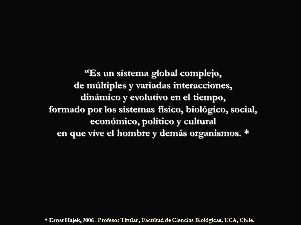 Es un sistema global complejo, de múltiples y variadas interacciones, dinámico y evolutivo en el tiempo, formado por los sistemas físico, biológico, s