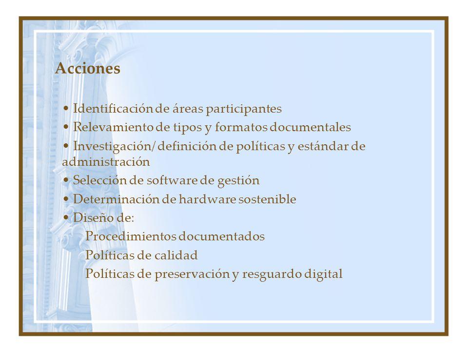 Acciones Identificación de áreas participantes Relevamiento de tipos y formatos documentales Investigación/ definición de políticas y estándar de administración Selección de software de gestión Determinación de hardware sostenible Diseño de: Procedimientos documentados Políticas de calidad Políticas de preservación y resguardo digital