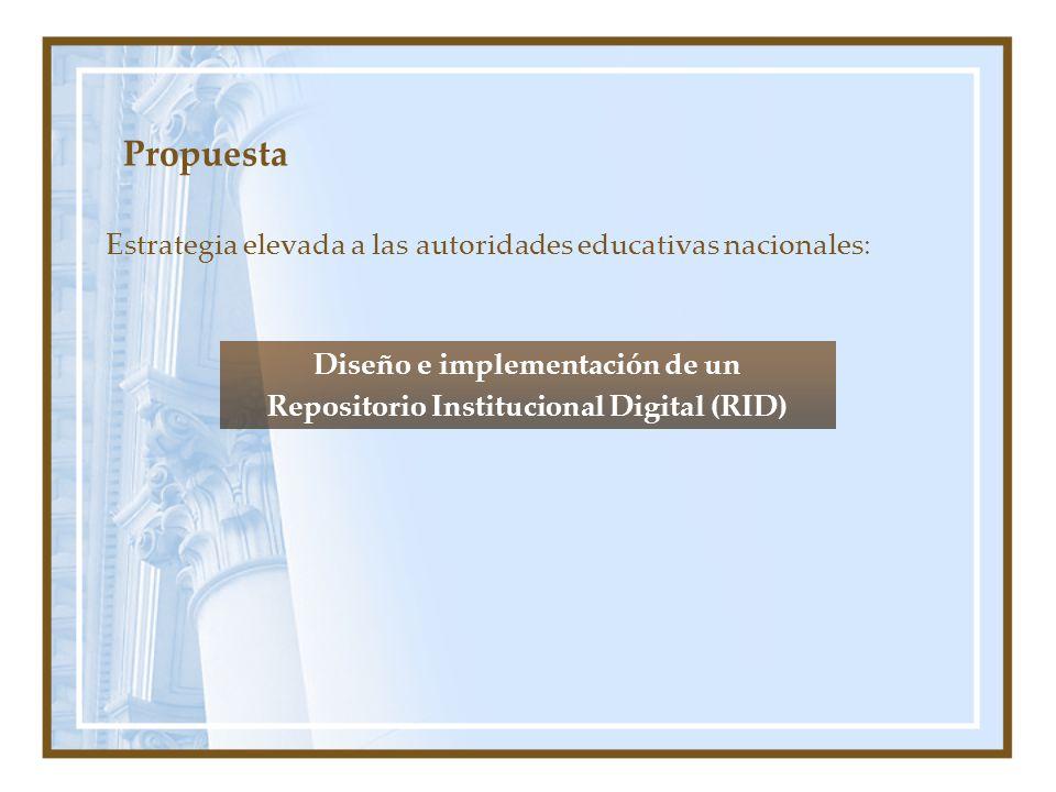 Propuesta Estrategia elevada a las autoridades educativas nacionales: Diseño e implementación de un Repositorio Institucional Digital (RID)