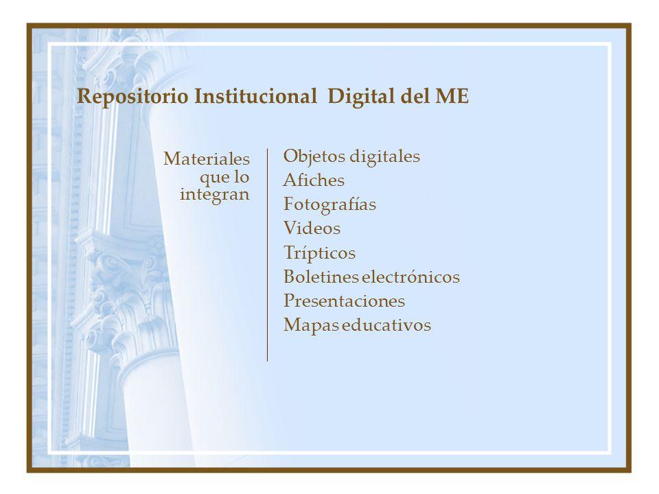 Materiales que lo integran Repositorio Institucional Digital del ME Objetos digitales Afiches Fotografías Videos Trípticos Boletines electrónicos Presentaciones Mapas educativos