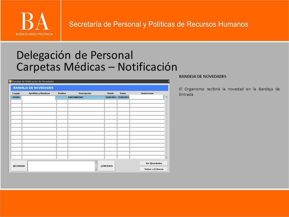 Delegación de Personal Carpetas Médicas – Notificación BANDEJA DE NOVEDADES El Organismo recibirá la novedad en la Bandeja de Entrada