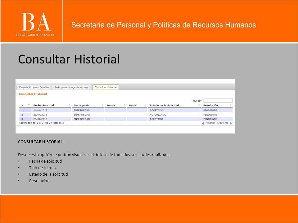 Consultar Historial CONSULTAR HISTORIAL Desde esta opción se podrán visualizar el detalle de todas las solicitudes realizadas: Fecha de solicitud Tipo