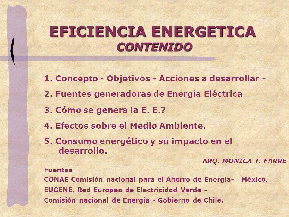 EFICIENCIA ENERGETICA CONTENIDO 1. Concepto - Objetivos - Acciones a desarrollar - 2. Fuentes generadoras de Energía Eléctrica 3. Cómo se genera la E.