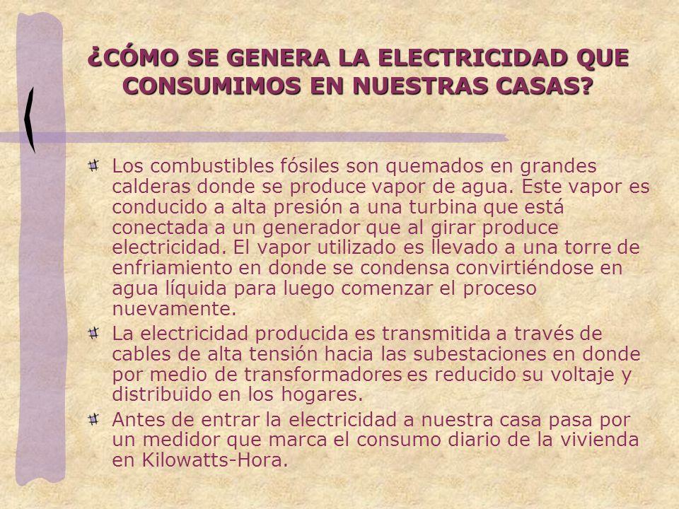 ¿ CÓMO SE GENERA LA ELECTRICIDAD QUE CONSUMIMOS EN NUESTRAS CASAS.
