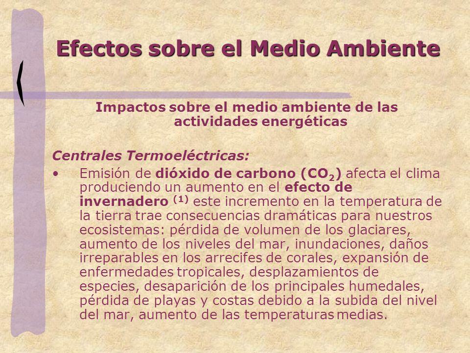 Efectos sobre el Medio Ambiente Impactos sobre el medio ambiente de las actividades energéticas Centrales Termoeléctricas: Emisión de dióxido de carbo