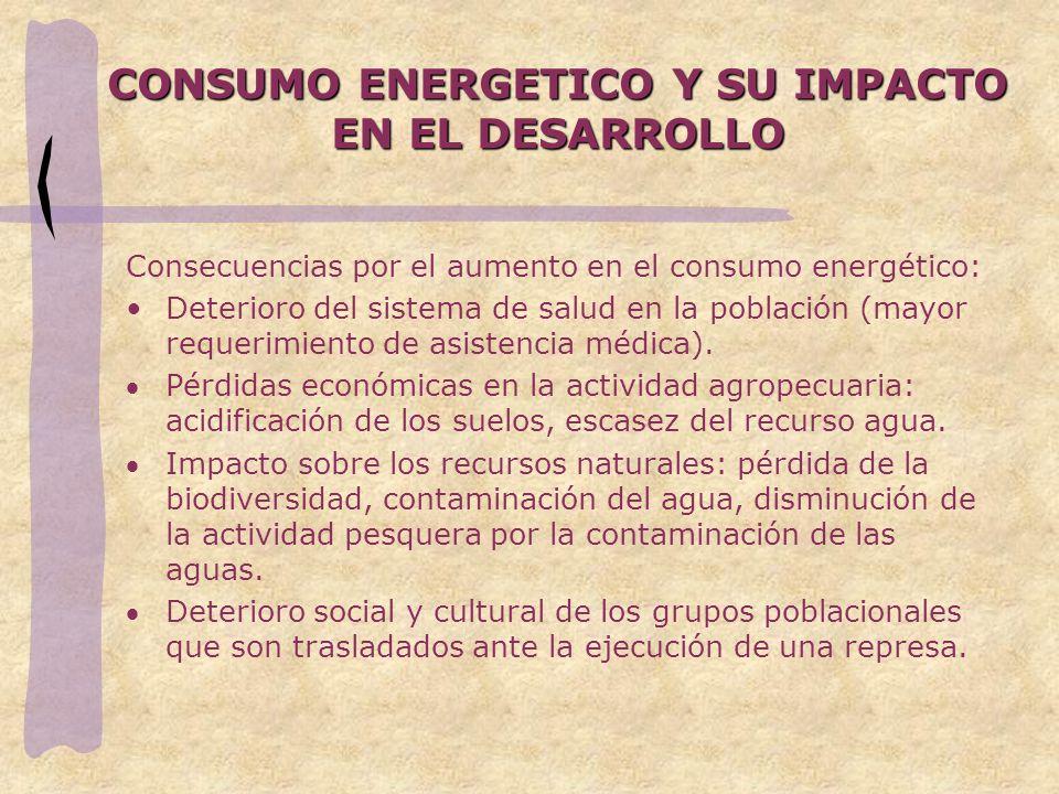 CONSUMO ENERGETICO Y SU IMPACTO EN EL DESARROLLO Consecuencias por el aumento en el consumo energético: Deterioro del sistema de salud en la población (mayor requerimiento de asistencia médica).