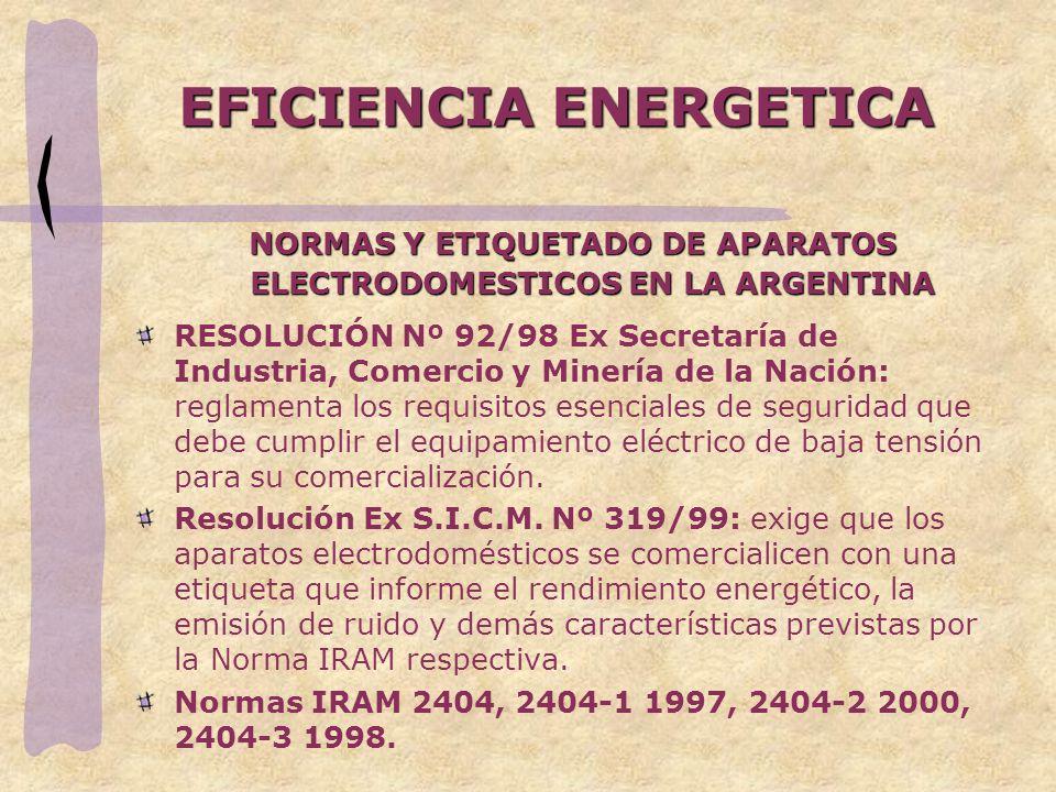 EFICIENCIA ENERGETICA NORMAS Y ETIQUETADO DE APARATOS ELECTRODOMESTICOS EN LA ARGENTINA RESOLUCIÓN Nº 92/98 Ex Secretaría de Industria, Comercio y Min