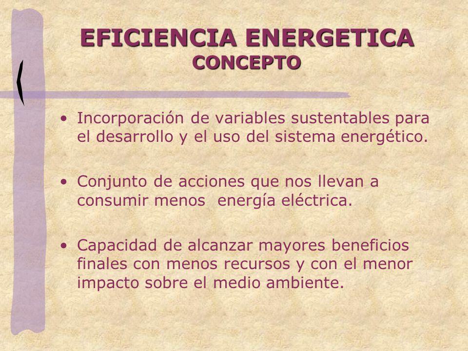 EFICIENCIA ENERGETICA CONCEPTO Incorporación de variables sustentables para el desarrollo y el uso del sistema energético. Conjunto de acciones que no