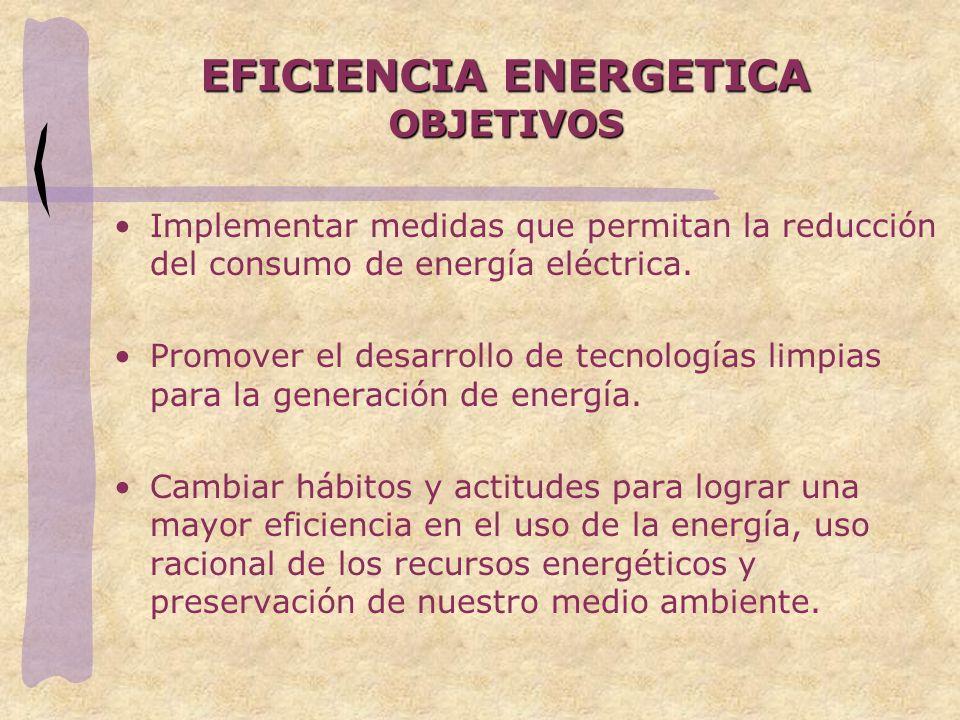 EFICIENCIA ENERGETICA OBJETIVOS Implementar medidas que permitan la reducción del consumo de energía eléctrica. Promover el desarrollo de tecnologías