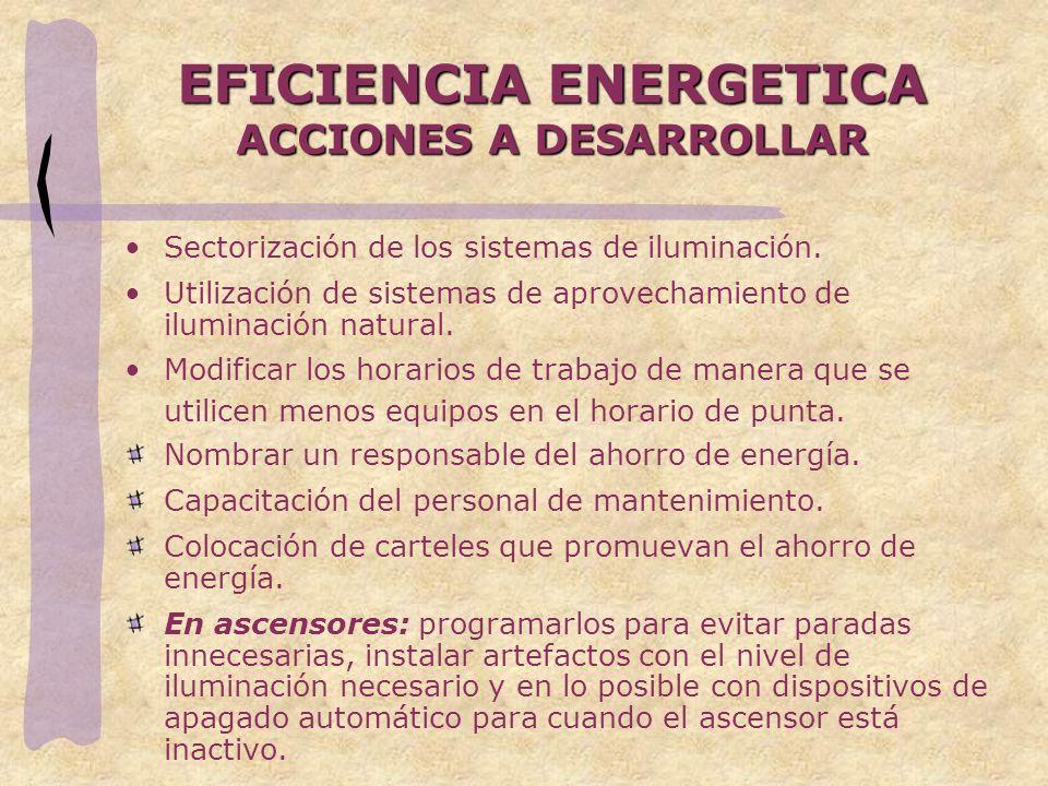 EFICIENCIA ENERGETICA ACCIONES A DESARROLLAR Sectorización de los sistemas de iluminación. Utilización de sistemas de aprovechamiento de iluminación n