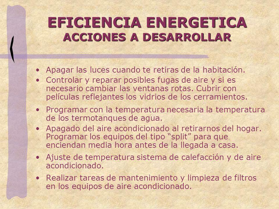 EFICIENCIA ENERGETICA ACCIONES A DESARROLLAR Apagar las luces cuando te retiras de la habitación. Controlar y reparar posibles fugas de aire y si es n