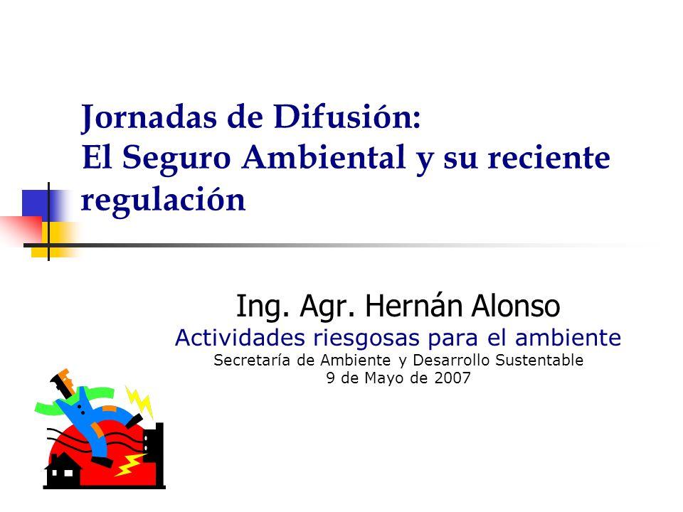 Jornadas de Difusión: El Seguro Ambiental y su reciente regulación Ing. Agr. Hernán Alonso Actividades riesgosas para el ambiente Secretaría de Ambien