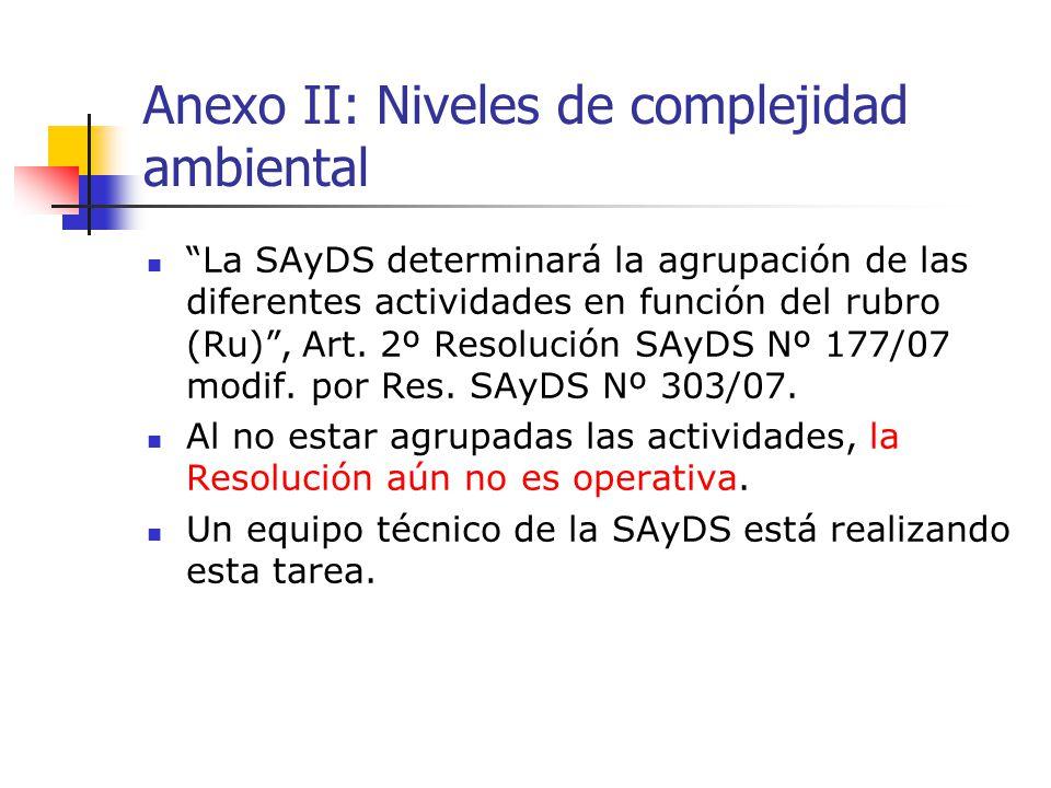 Anexo II: Niveles de complejidad ambiental La SAyDS determinará la agrupación de las diferentes actividades en función del rubro (Ru), Art. 2º Resoluc