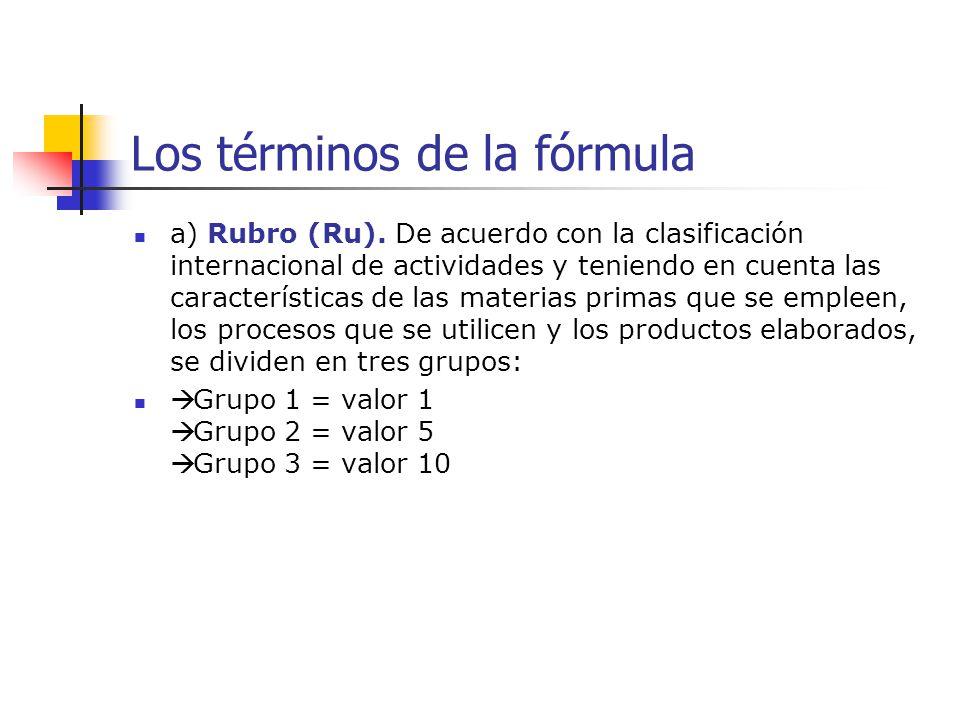 Los términos de la fórmula a) Rubro (Ru). De acuerdo con la clasificación internacional de actividades y teniendo en cuenta las características de las