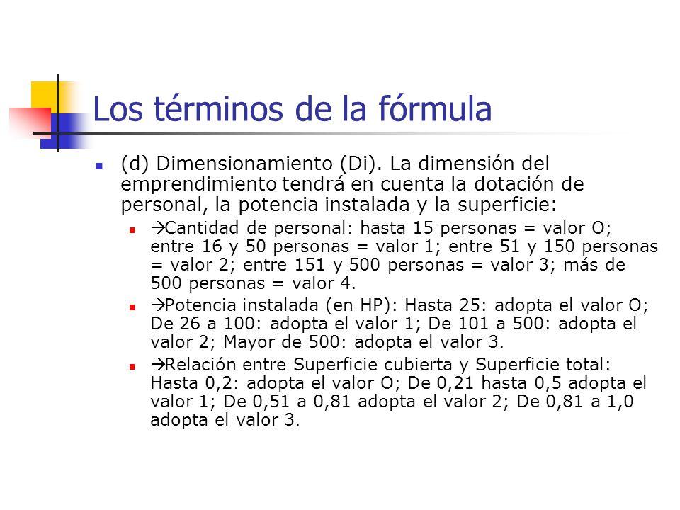 Los términos de la fórmula (d) Dimensionamiento (Di). La dimensión del emprendimiento tendrá en cuenta la dotación de personal, la potencia instalada