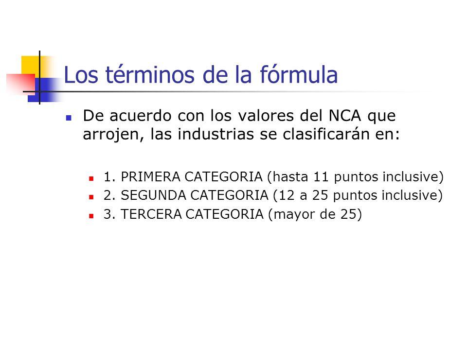 Los términos de la fórmula De acuerdo con los valores del NCA que arrojen, las industrias se clasificarán en: 1. PRIMERA CATEGORIA (hasta 11 puntos in