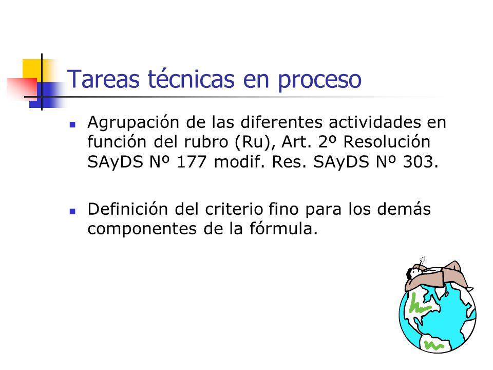 Tareas técnicas en proceso Agrupación de las diferentes actividades en función del rubro (Ru), Art. 2º Resolución SAyDS Nº 177 modif. Res. SAyDS Nº 30