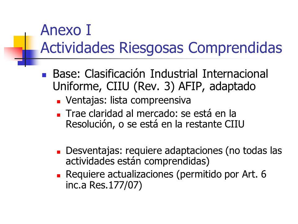 Anexo I Actividades Riesgosas Comprendidas Base: Clasificación Industrial Internacional Uniforme, CIIU (Rev. 3) AFIP, adaptado Ventajas: lista compree