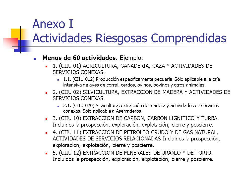 Anexo I Actividades Riesgosas Comprendidas Menos de 60 actividades. Ejemplo: 1. (CIIU 01) AGRICULTURA, GANADERIA, CAZA Y ACTIVIDADES DE SERVICIOS CONE
