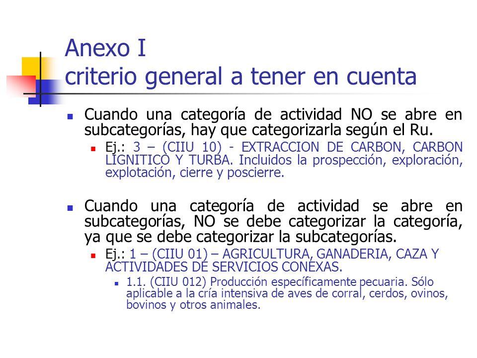 Anexo I criterio general a tener en cuenta Cuando una categoría de actividad NO se abre en subcategorías, hay que categorizarla según el Ru. Ej.: 3 –