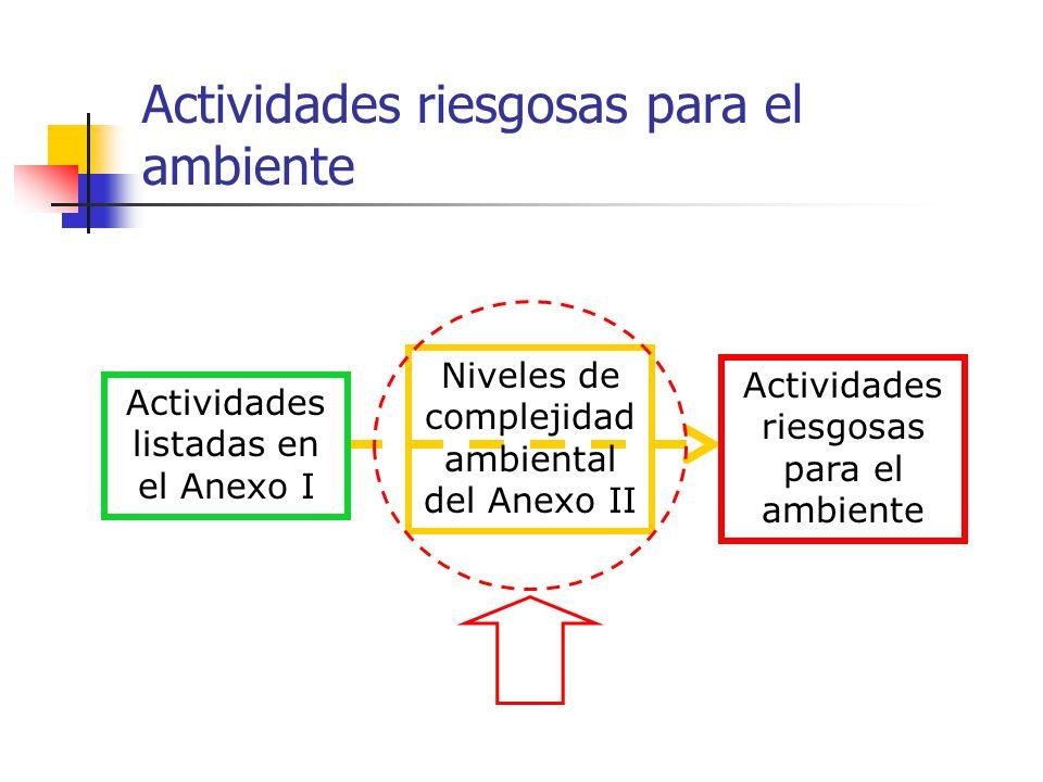 Anexo II Niveles de complejidad ambiental Son actividades riesgosas para el ambiente, aquellas actividades listadas en el Anexo I, que verifiquen los niveles de complejidad ambiental identificados como categorías 2 ó 3 del Anexo II (mediana o alta complejidad ambiental, respectivamente).