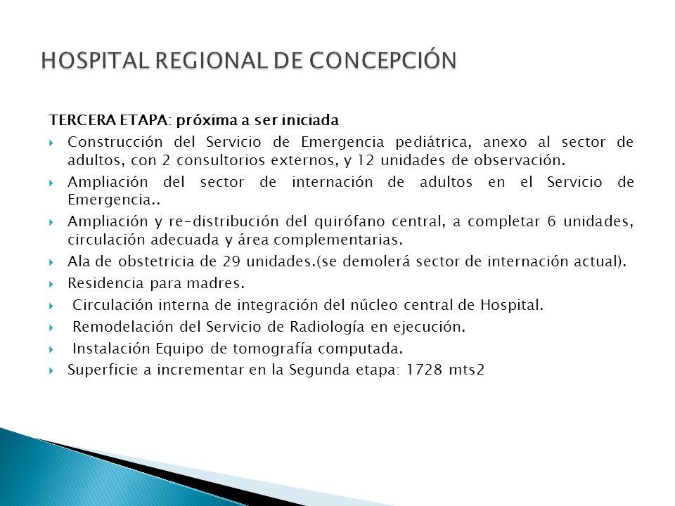 TERCERA ETAPA: próxima a ser iniciada Construcción del Servicio de Emergencia pediátrica, anexo al sector de adultos, con 2 consultorios externos, y 1