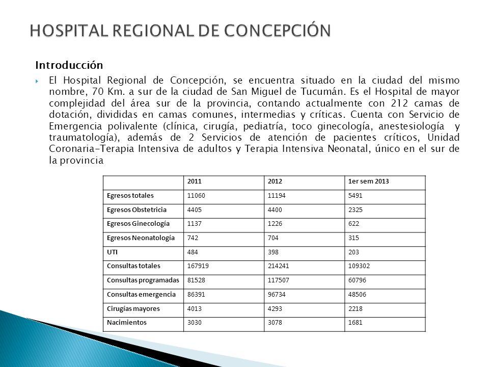 Introducción El Hospital Regional de Concepción, se encuentra situado en la ciudad del mismo nombre, 70 Km. a sur de la ciudad de San Miguel de Tucumá