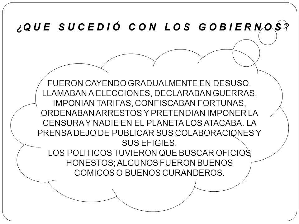 FUERON CAYENDO GRADUALMENTE EN DESUSO. LLAMABAN A ELECCIONES, DECLARABAN GUERRAS, IMPONIAN TARIFAS, CONFISCABAN FORTUNAS, ORDENABAN ARRESTOS Y PRETEND