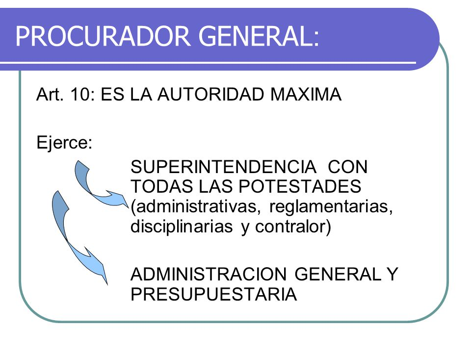 PROCURADOR GENERAL : Art. 10: ES LA AUTORIDAD MAXIMA Ejerce: SUPERINTENDENCIA CON TODAS LAS POTESTADES (administrativas, reglamentarias, disciplinaria