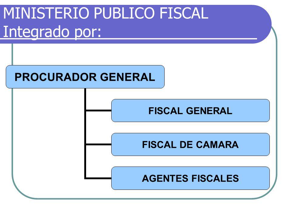 MINISTERIO PUBLICO FISCAL Integrado por: PROCURADOR GENERAL FISCAL GENERAL FISCAL DE CAMARA AGENTES FISCALES