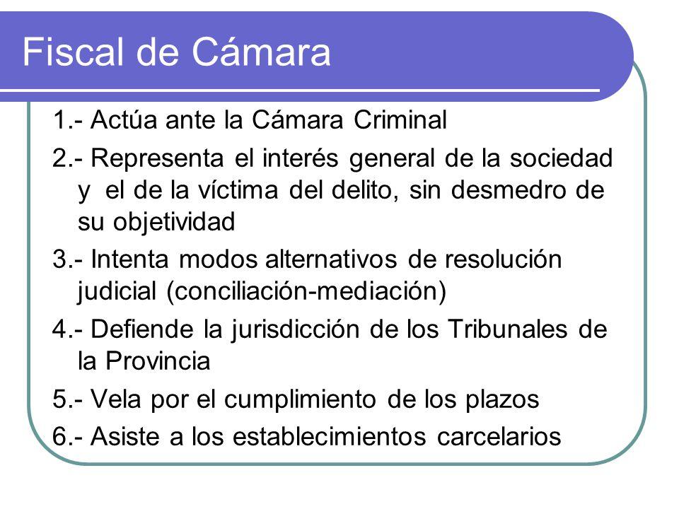 Fiscal de Cámara 1.- Actúa ante la Cámara Criminal 2.- Representa el interés general de la sociedad y el de la víctima del delito, sin desmedro de su