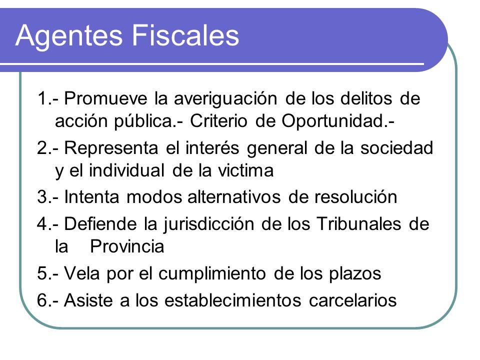 Agentes Fiscales 1.- Promueve la averiguación de los delitos de acción pública.- Criterio de Oportunidad.- 2.- Representa el interés general de la soc