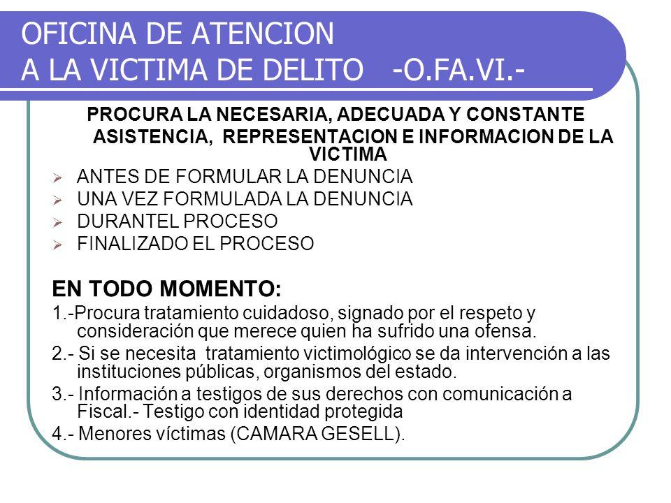 OFICINA DE ATENCION A LA VICTIMA DE DELITO -O.FA.VI.- PROCURA LA NECESARIA, ADECUADA Y CONSTANTE ASISTENCIA, REPRESENTACION E INFORMACION DE LA VICTIM