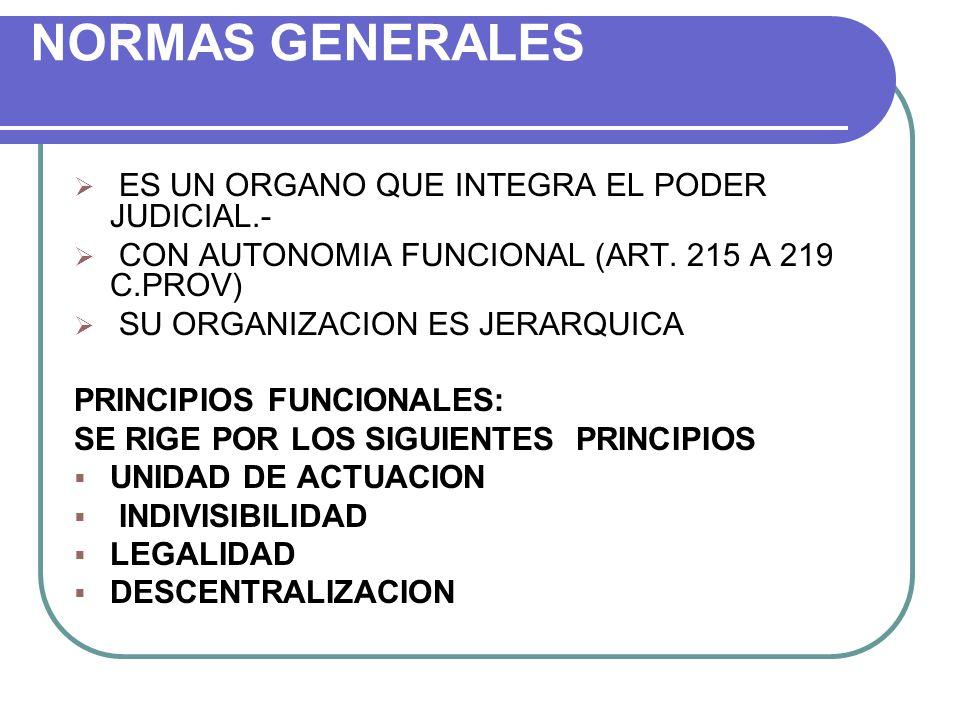 NORMAS GENERALES ES UN ORGANO QUE INTEGRA EL PODER JUDICIAL.- CON AUTONOMIA FUNCIONAL (ART. 215 A 219 C.PROV) SU ORGANIZACION ES JERARQUICA PRINCIPIOS